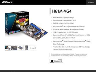 ASRock H61M-VG4 Driver and Firmware Downloads