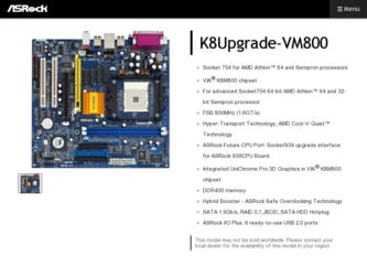 K8Upgrade-VM800 driver download page on the ASRock site