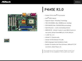 ASRock P4i45E R3 0 Driver and Firmware Downloads