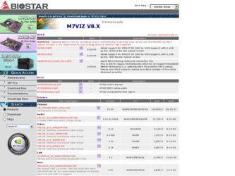 Biostar M7VIZ V8 X Driver and Firmware Downloads
