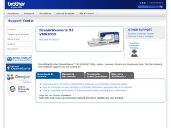 "DreamWeaver"" XE VM6200D driver download page on the Brother International site"