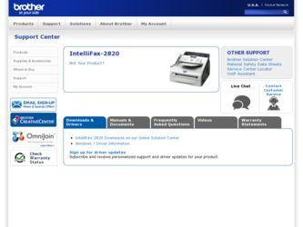 IntelliFax-2820 driver download page on the Brother International site