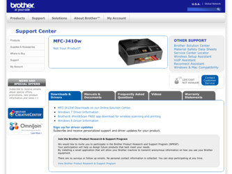 MFC-J410w driver download page on the Brother site
