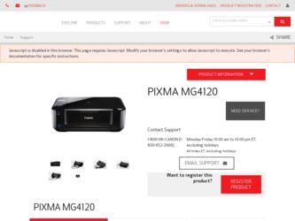 PIXMA MG4120 driver download page on the Canon site