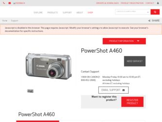 Canon PowerShot A460 Manuals