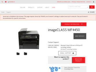 imageCLASS MF4450 driver download page on the Canon site