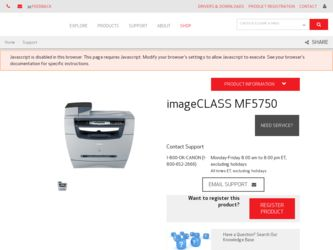 imageCLASS MF5750 driver download page on the Canon site