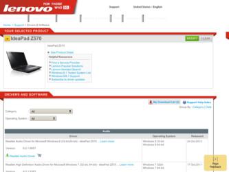 Lenovo IdeaPad Z570 Driver and Firmware Downloads