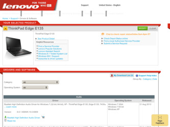 ThinkPad Edge E135 driver download page on the Lenovo site