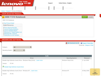 Y310 driver download page on the Lenovo site