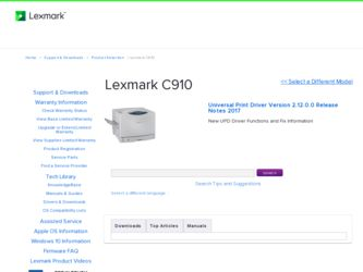 Lexmark C910 Printer Color Driver And Firmware Downloads