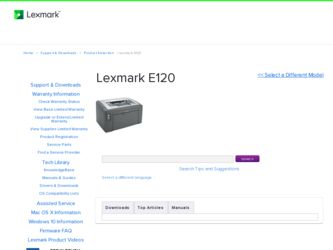 Lexmark E120 Driver and Firmware Downloads