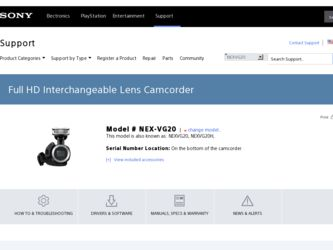NEX-VG20 driver download page on the Sony site