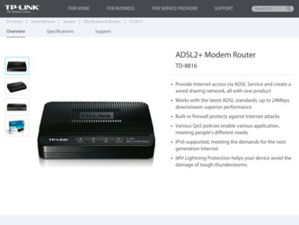 TD-8816 driver download page on the TP-Link site