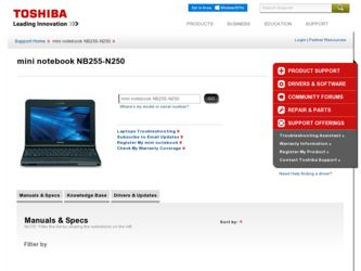 NB255-N250 driver download page on the Toshiba site