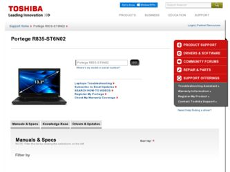 Portege R835 driver download page on the Toshiba site