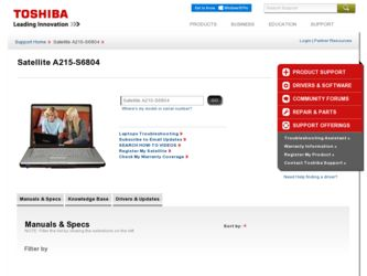 Satellite A215-S6804 driver download page on the Toshiba site
