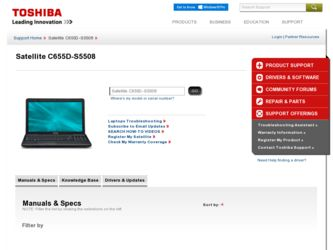 Satellite C655D-S5508 driver download page on the Toshiba site