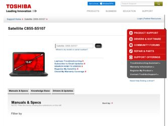 Satellite C855-S5107 driver download page on the Toshiba site