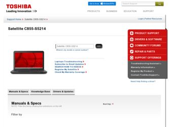 Satellite C855-S5214 driver download page on the Toshiba site