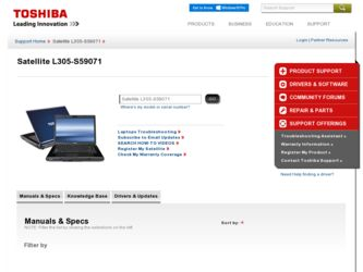 Satellite L305-S59071 driver download page on the Toshiba site