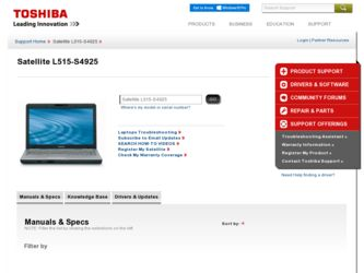 Satellite L515-S4925 driver download page on the Toshiba site