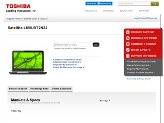 Satellite L850-BT2N22 driver download page on the Toshiba site