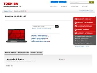 Satellite L855-S5243 driver download page on the Toshiba site