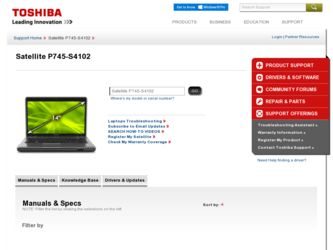 Satellite P745-S4102 driver download page on the Toshiba site