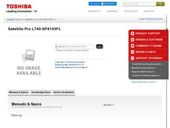 Satellite Pro L740-SP4143FL driver download page on the Toshiba site