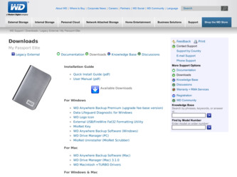 WD2500ME driver download page on the Western Digital site