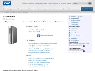 WDBACW0020HBK driver download page on the Western Digital site